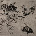 Vierzehn-Sieben / Offsetdruckfarbe, Acryl, Papier, Fäden auf auf MDF / Materialdruck bzw. Assemblage / 14,7 x 14,7 cm