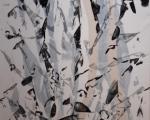 Spuren / experimenteller Druck auf Gewebe auf MdF / ca. 143 x 80 cm