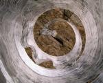 Spirale / Holzabrieb auf Baumwollgaze, Offsetdruckfarbe / Septfontaines